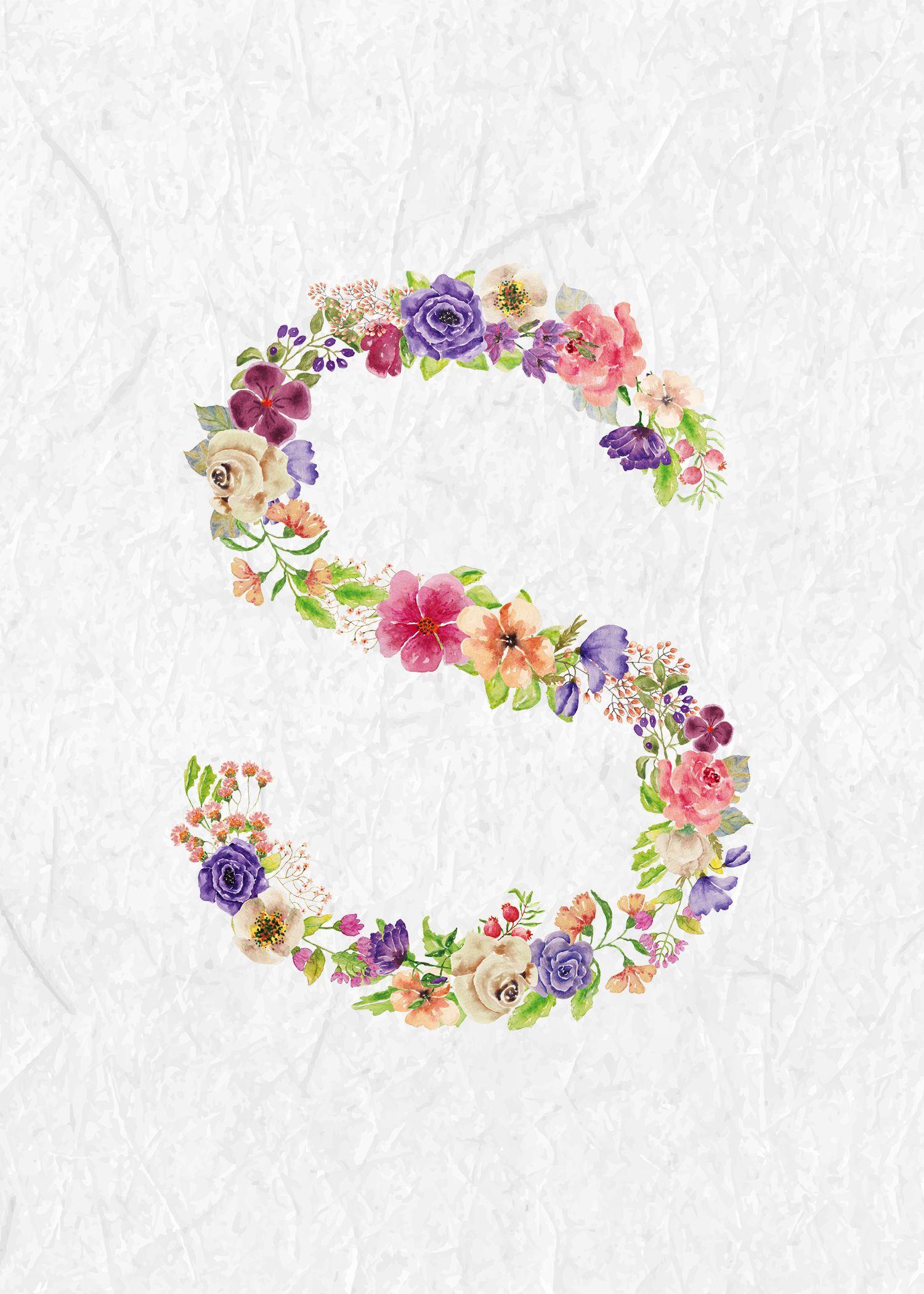 Floral Monogram Floral Letters Monogram Wallpaper