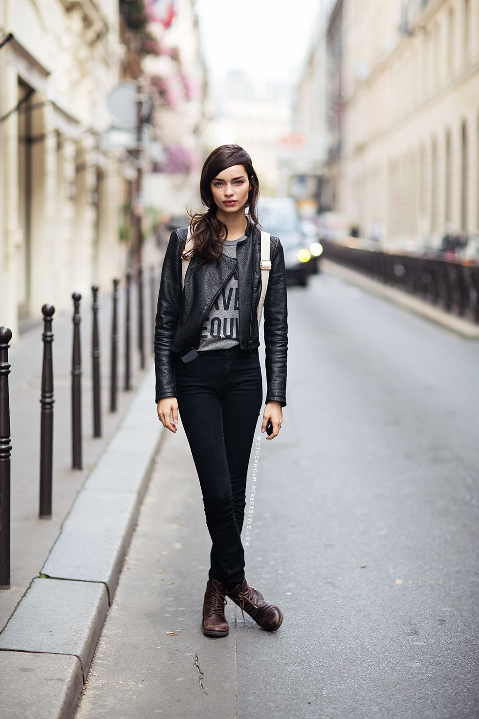 6c3094a0b68  black  pants  skinny  jeans  leather  jacket  shirt  brown  boots  street   style  womens  fashion  edgy