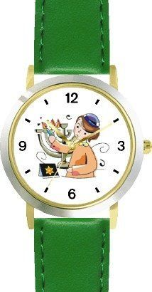 Boy Lighting Hanukkah Lights on Chanukia Jewish Star of David Judaica Jewish Theme - WATCHBUDDY® DELUXE TWO-TONE THEME WATCH - Arabic Numbers - Green Leather Strap-Children's Size-Small ( Boy's Size & Girl's Size ) WatchBuddy. $49.95. Save 38%!