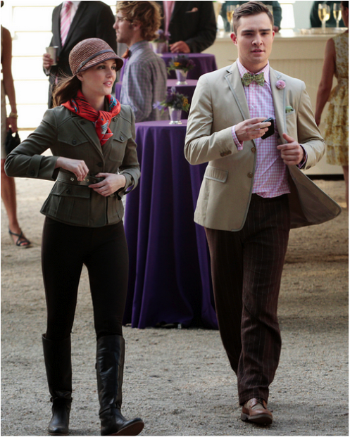 Want Blair's outfit? Blair wore Frye Dorado riding boots, a straw ...