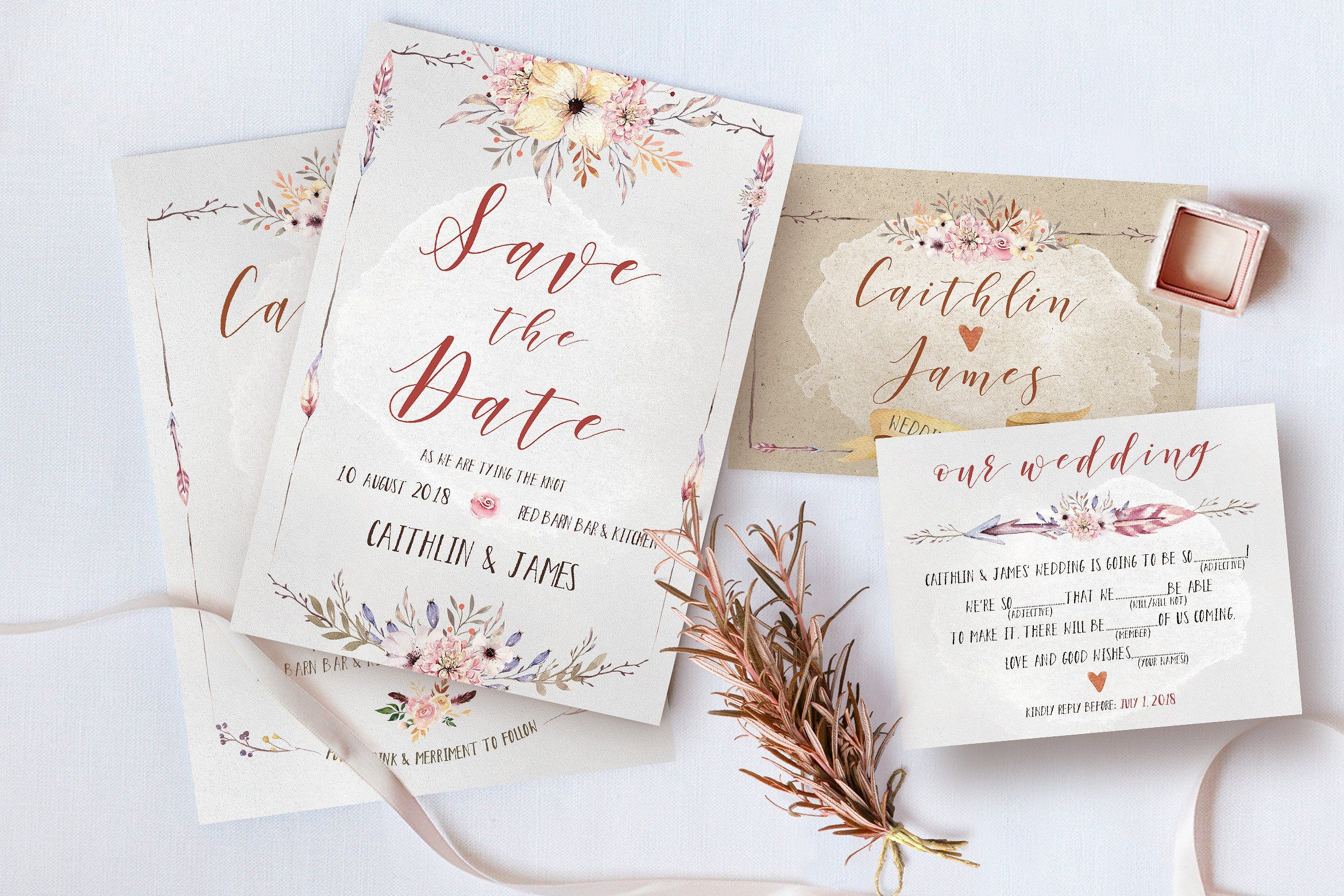Boho Flower Wedding Suite | Modern calligraphy, Wedding suite and ...