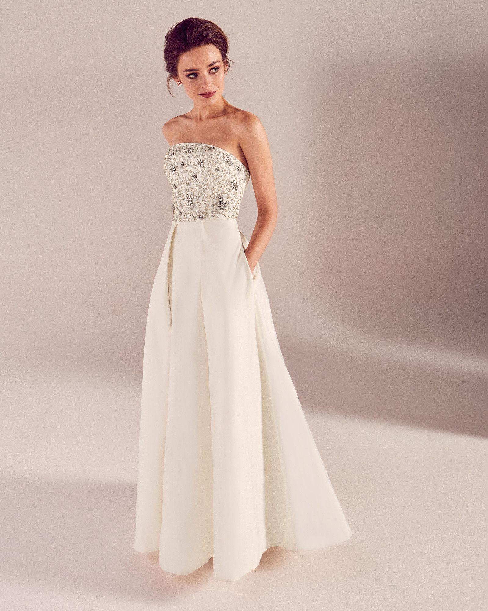 Embellished Bodice Bridal Dress White Ss17 Tie The Knot Ted Baker Uk Tedbaker Wedwithted Designer Outfits Woman Dresses Embellished Wedding Dress