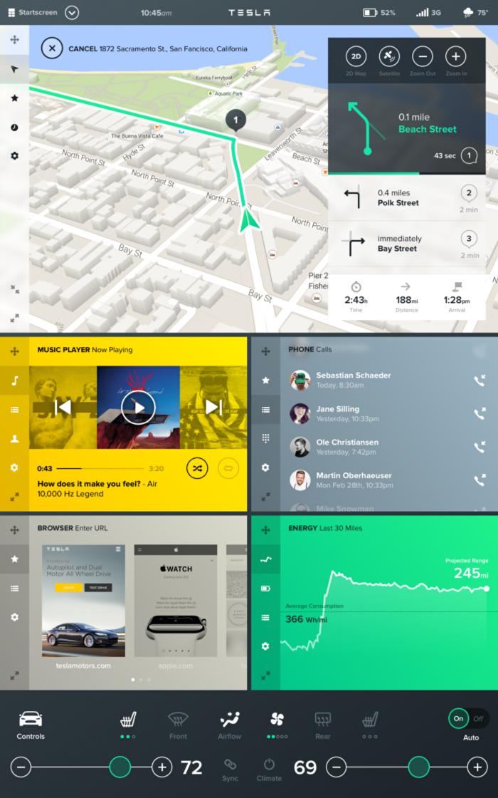 Tesla Interface Concept Tesla Infotainment Interface Design