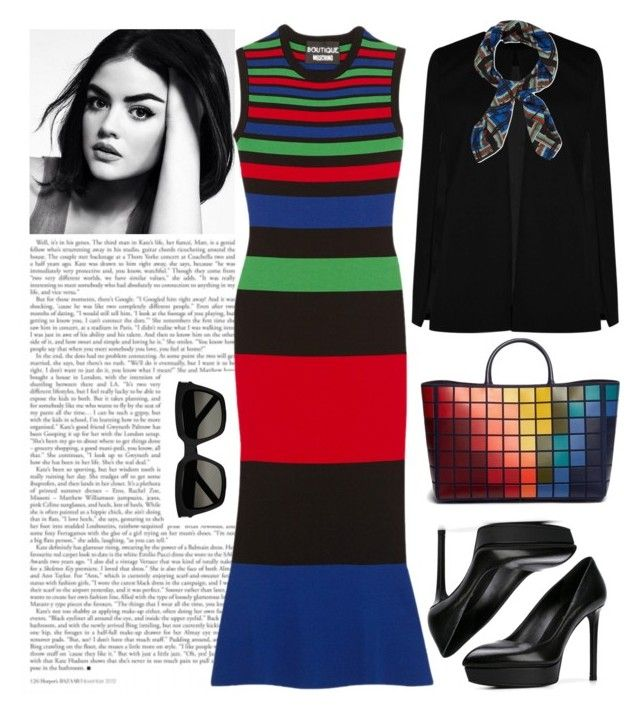 """""""Untitled #27"""" by puspitantri ❤ liked on Polyvore featuring Anya Hindmarch, Boohoo, Yves Saint Laurent, The Kooples, Boutique Moschino, dress, tote, coat, fashionset and totebags"""