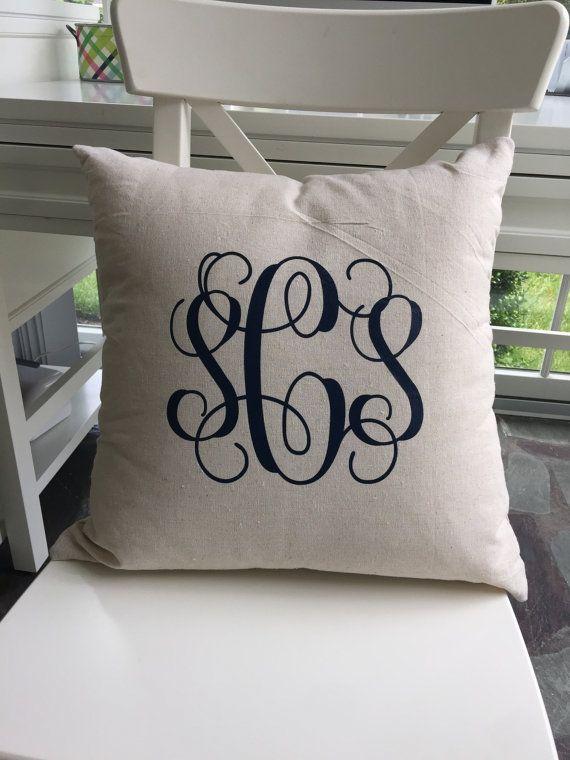Monogram Pillow Monogrammed Throw Pillow Custom Throw Pillow