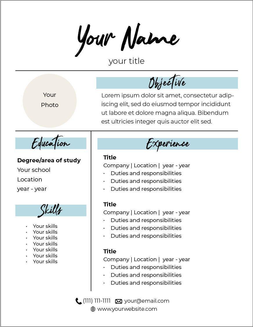 Creative Professional Feminine Resume Template Etsy
