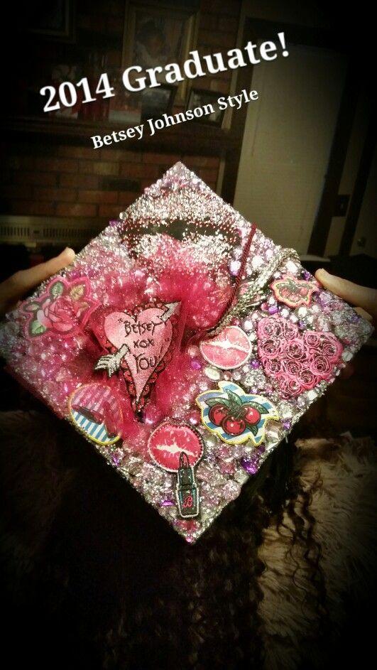 Graduation Cap! Betsey Johnson inspired! Designer graduation cap! Glitter graduation cap! Pink graduation cap! DIY graduation cap!  MISSISSIPPI STATE UNIVERSITY GRADUATION CAP! BULLDOGS #1