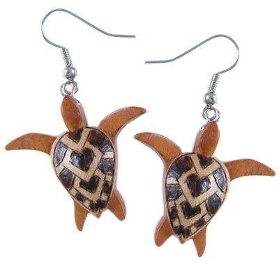 Hawaiian Koa Wood Honu Sea Turtle Earrings