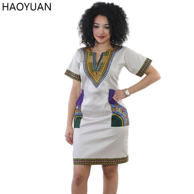 HAOYUAN Plus Size Summer Autumn African Print Dress Casual V-Neck ...
