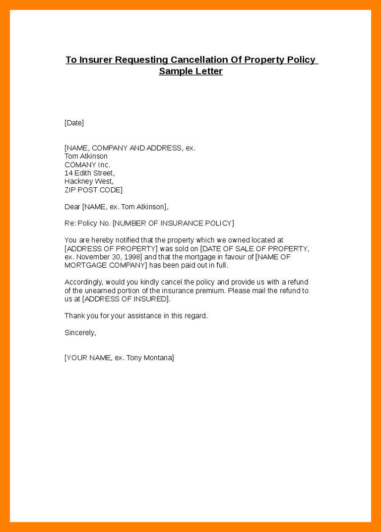 Insurance Cancel Letter Students Resume Write Cancellation Sample