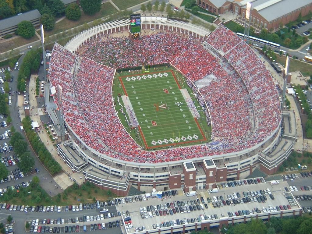 On Game Day Scott Stadium Fills Up With Fans In Orange And Blue Stadium Virginia Cavaliers Football Football Stadiums