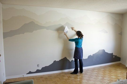 De Una Pared En Blanco A Un Paisaje Pintado Bedroom Makeover Mountain Mural Mural