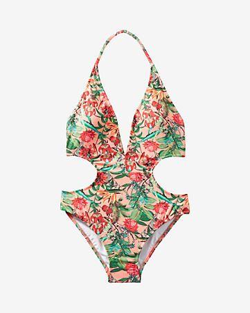 tropical floral print plunge front monokini