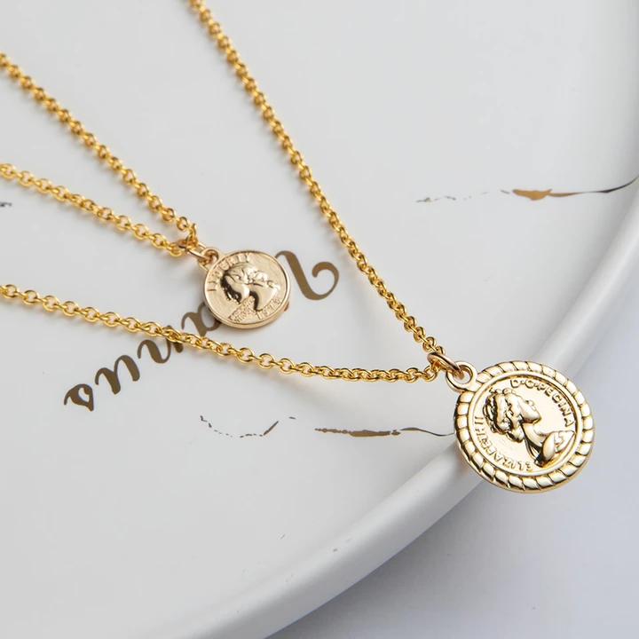 Photo of Goldene Kette Mehrschichtige Halskette für Frauen Halsreif Herz Sterne Runde Münze Porträt Dollar Halsketten & Anhänger Modeschmuck