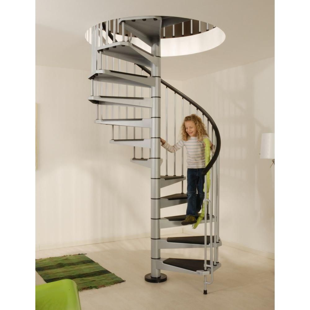 Arke Civik 4 Ft 7 In Grey Spiral Staircase Kit K03032 At The | Outdoor Spiral Staircase Home Depot | Reroute Galvanized | Handrail | Arke Nice1 | Arke Enduro | Galvanized Exterior