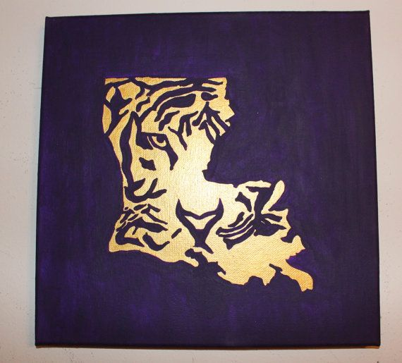 Geaux Tigers Lsu Canvas By Summercrafternoons On Etsy 32 00 Louisiana Art State Canvas Painting Tiger Painting