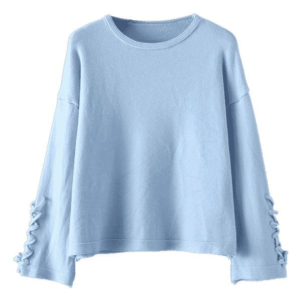 Long Sleeve Lace Up Pullover Sweater Light Blue (1.515 RUB ...