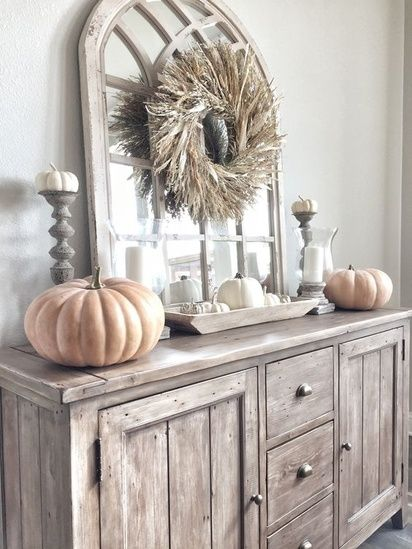 Fall Decor On This Gorgeous Sideboard Rustic Home Decor Autumn Faux Pumpkins Rustic