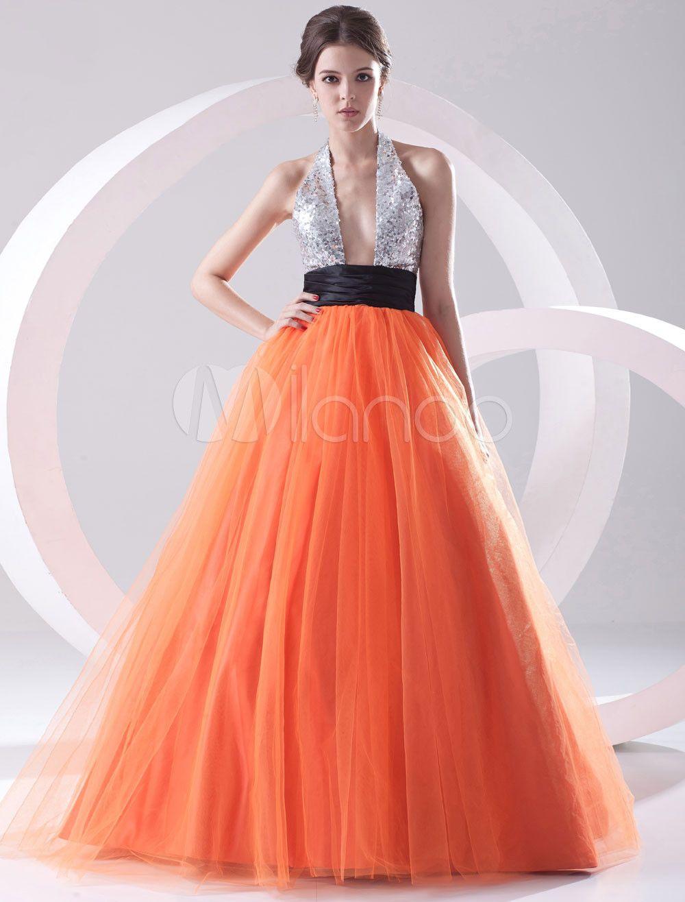 Vestido de fiesta de malla de color naranja con lentejuelas con escote  Halter de estilo de princesa 13ab167e089a