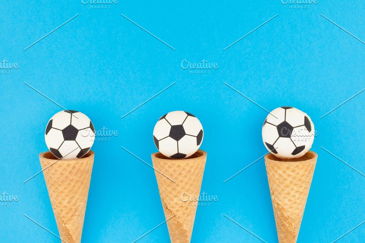 Photo of Football macaroons in waffle cones #Sponsored , #affiliate, #cream#ice#waffle#so…