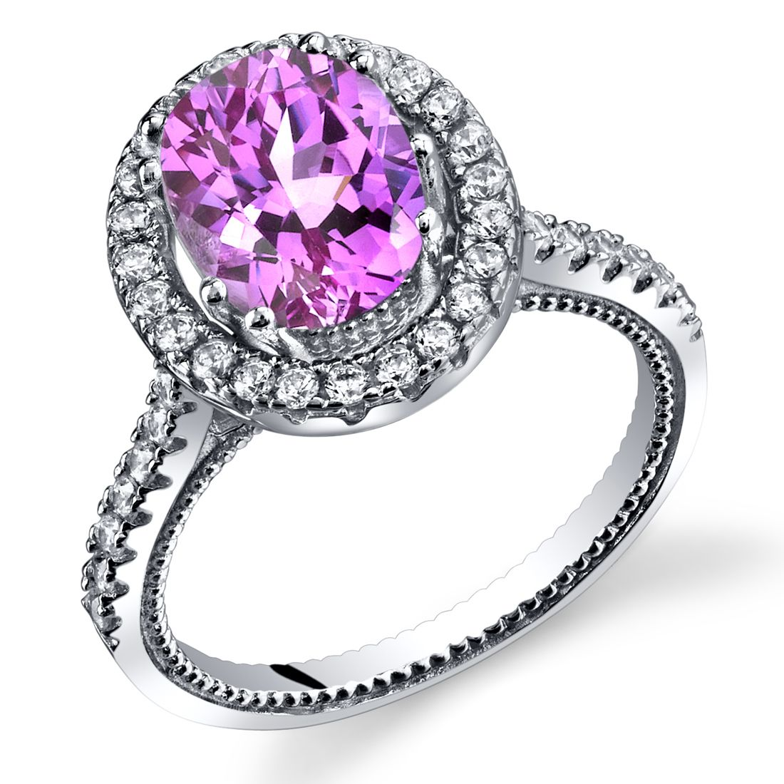 Womenus sterling silver pink sapphire oval halo ring with milgrain