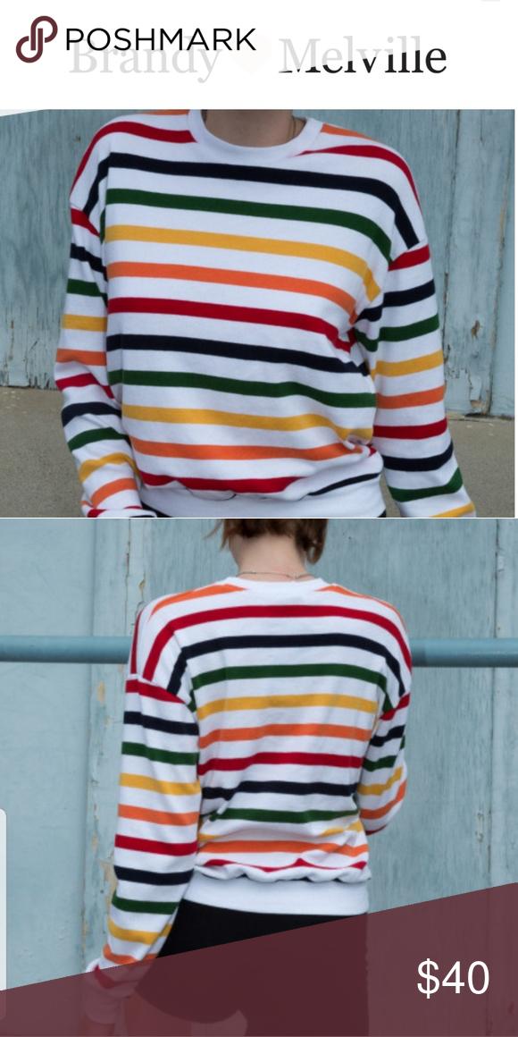 5309d4c5cc Rare* Brandy Melville Striped Top ❤**Rare** 🧡Rainbow Stripes 💛100 ...