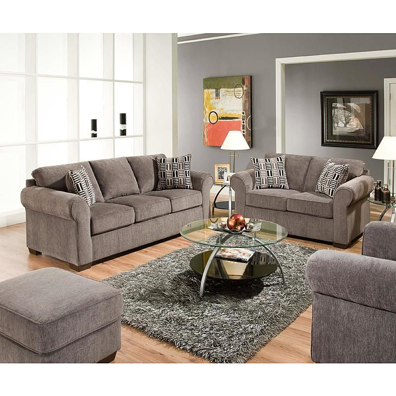 Simmons Upholstery 1685 Pk Ls Simmons Steel Gray Lola Rolled Welted Arm Loveseat 4 Piece Living Room Set Casual Style Living Room Furniture #sears #living #room #furniture