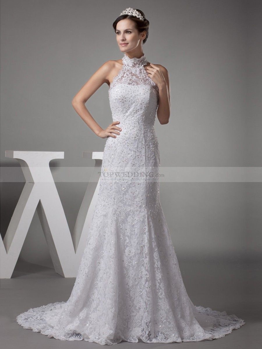 Vintage high neck lace over satin mermaid wedding dress weddings