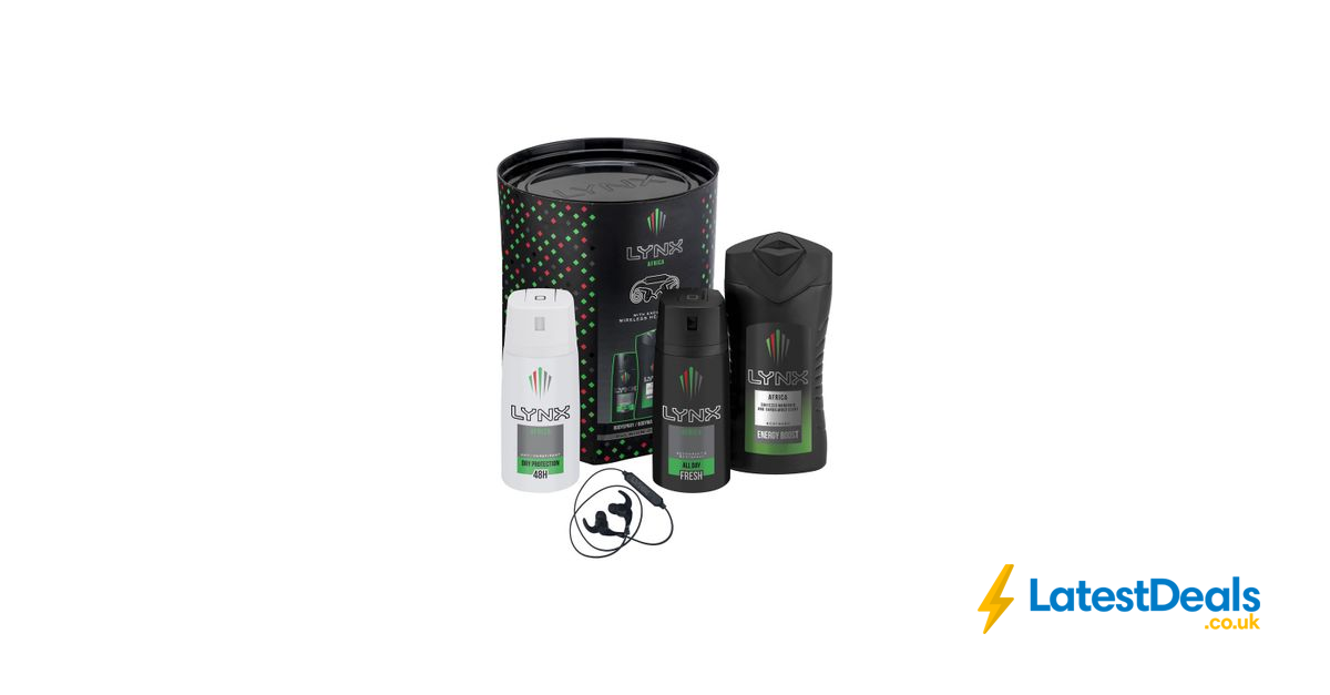 Lynx Africa Trio & Wireless Ear Phones Gift Set Free C&C, £8 at