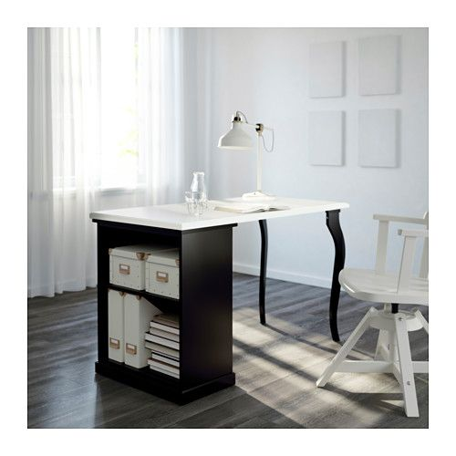 KLIMPEN / LALLE Desk with storage - white/black - IKEA | finally new ...