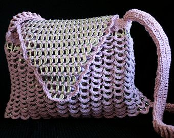 Purple bag / Purse / pouch made with soda can tabs and crochet, upcycled. handmade