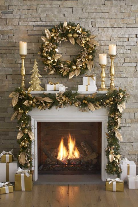 I Thought You Might Be Interested In This Image From San Antonio Express News Christmas Mantel Decorations Gold Christmas Decorations Christmas Mantle Decor