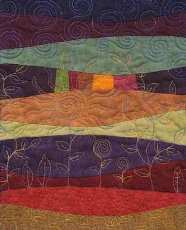 Landscape Quilt using curved piecing and freeform quilting ... : art quilt patterns free - Adamdwight.com