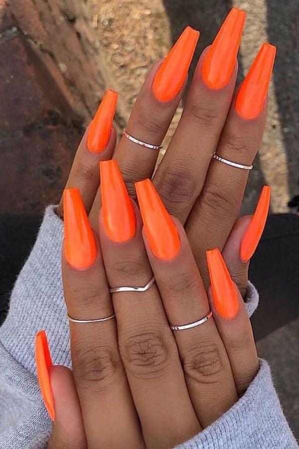 37 Stylish Orange Nail Art Designs For Fall 2019 Orange Acrylic Nails Orange Nails Orange Nail Art