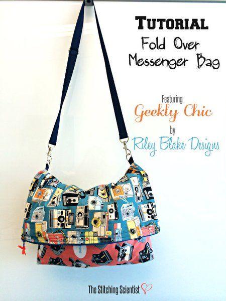 Fold Over Messenger Bag Tutorial #messengerbagtutorial #messengerbag #geeklychic #diy