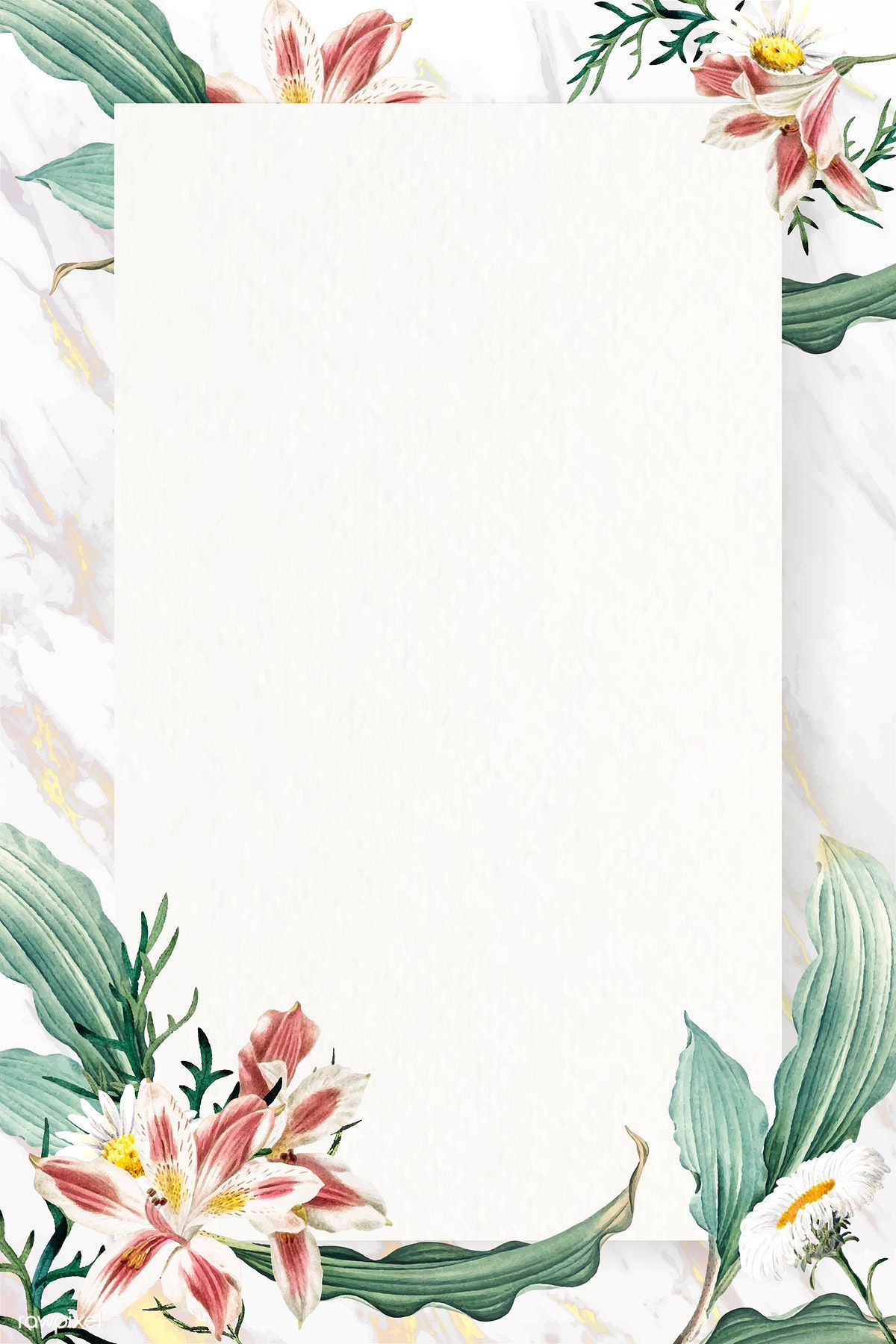 Download premium vector of Blank floral rectangle frame