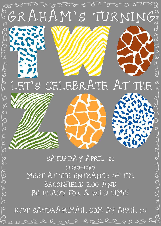 Zoo Birthday Party Invitation Digital File Boy or Girl 1200