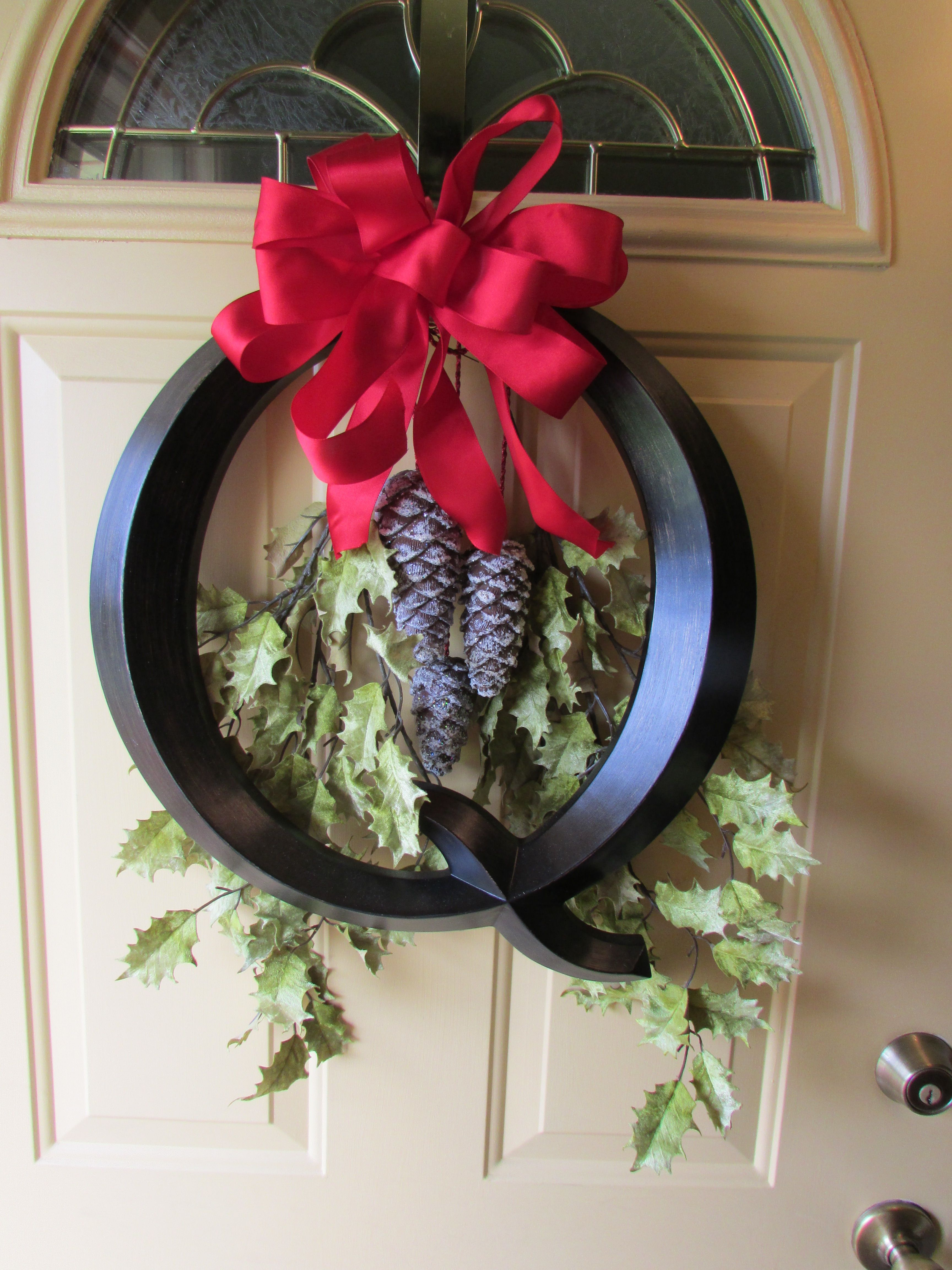 Our front door- our last name is Queen, so the initial works well for a wreath.