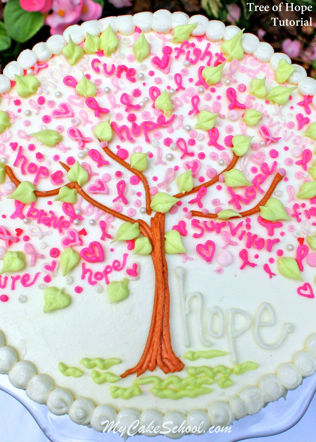 Simple Beautiful Tree Of Hope Cake For T Cancer Awareness Free Tutorial By