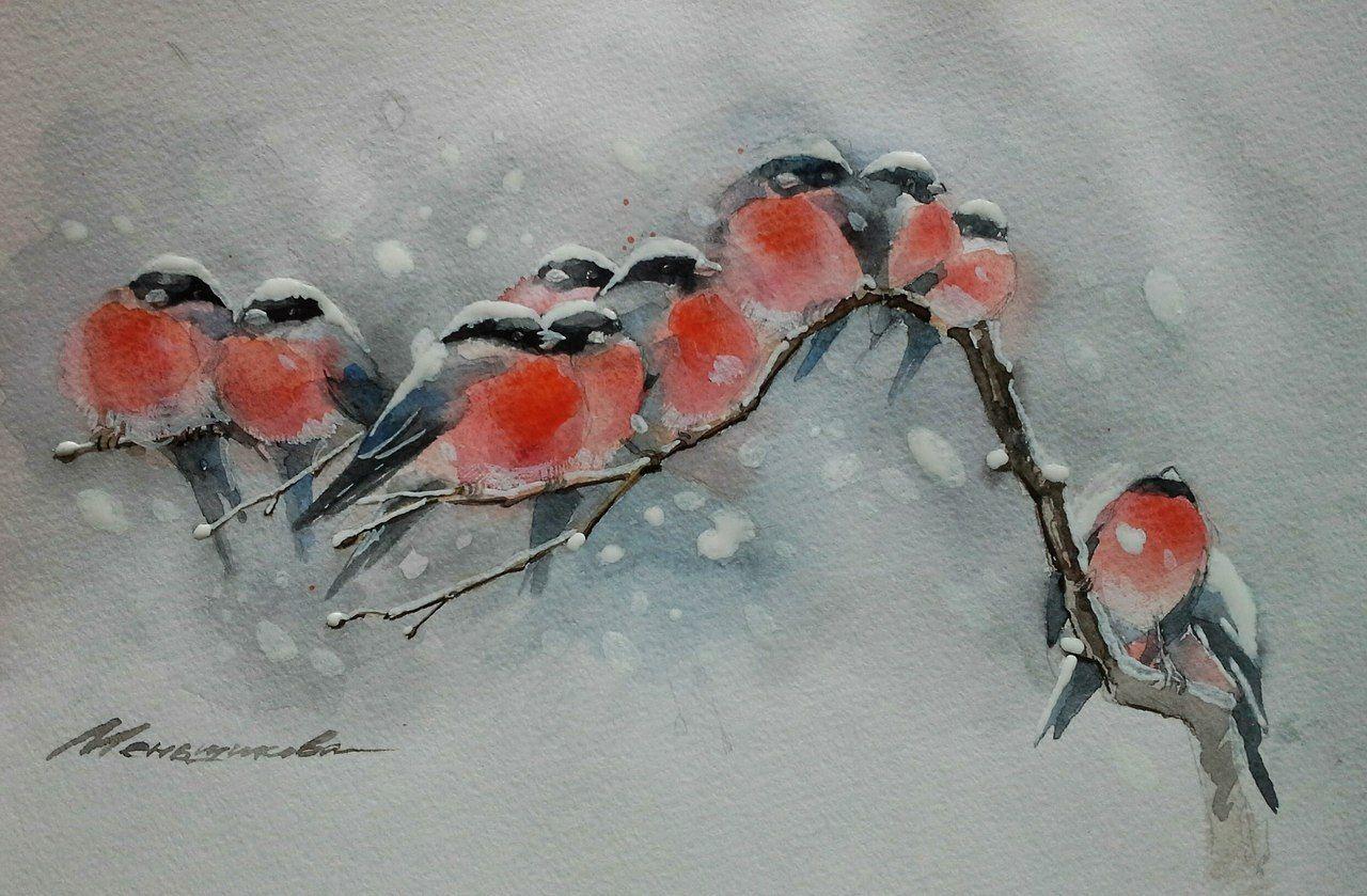 Марта, открытки снегирей