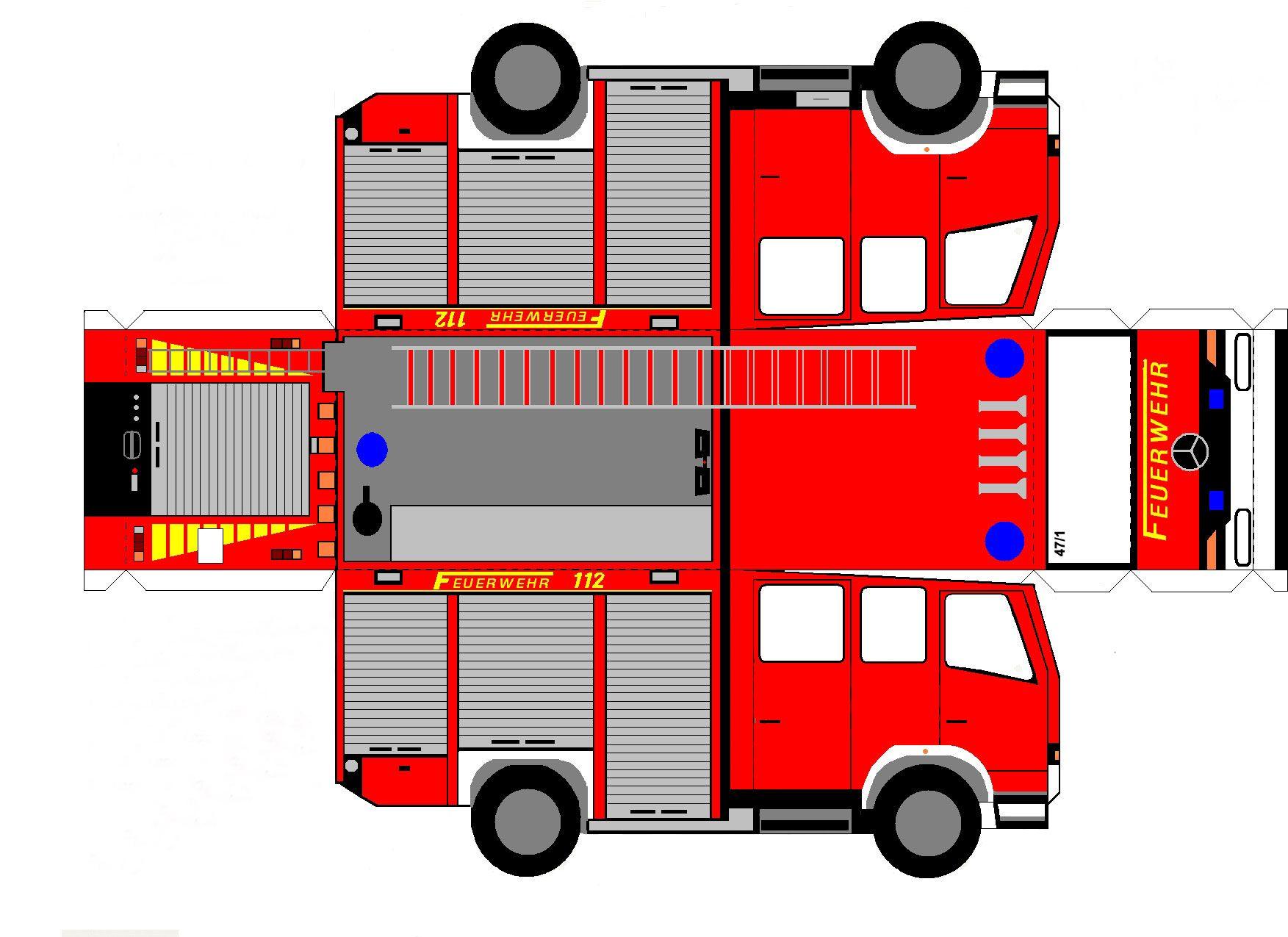 Смешные, пожарная машина из бумаги схемы развертка выкройка шаблоны