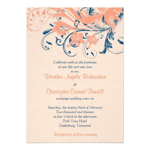 Marine Blue Coral Peach Floral Wedding Invitation Navy Wedding - best of invitation cards for wedding price