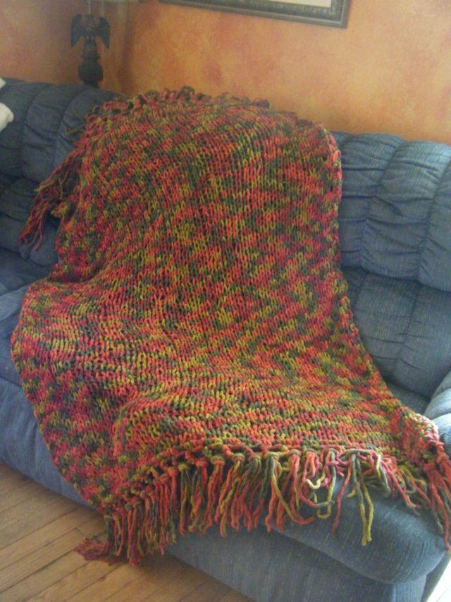 Knit Afghan With Bernat Blanket 10521 Harvest Used Size 15