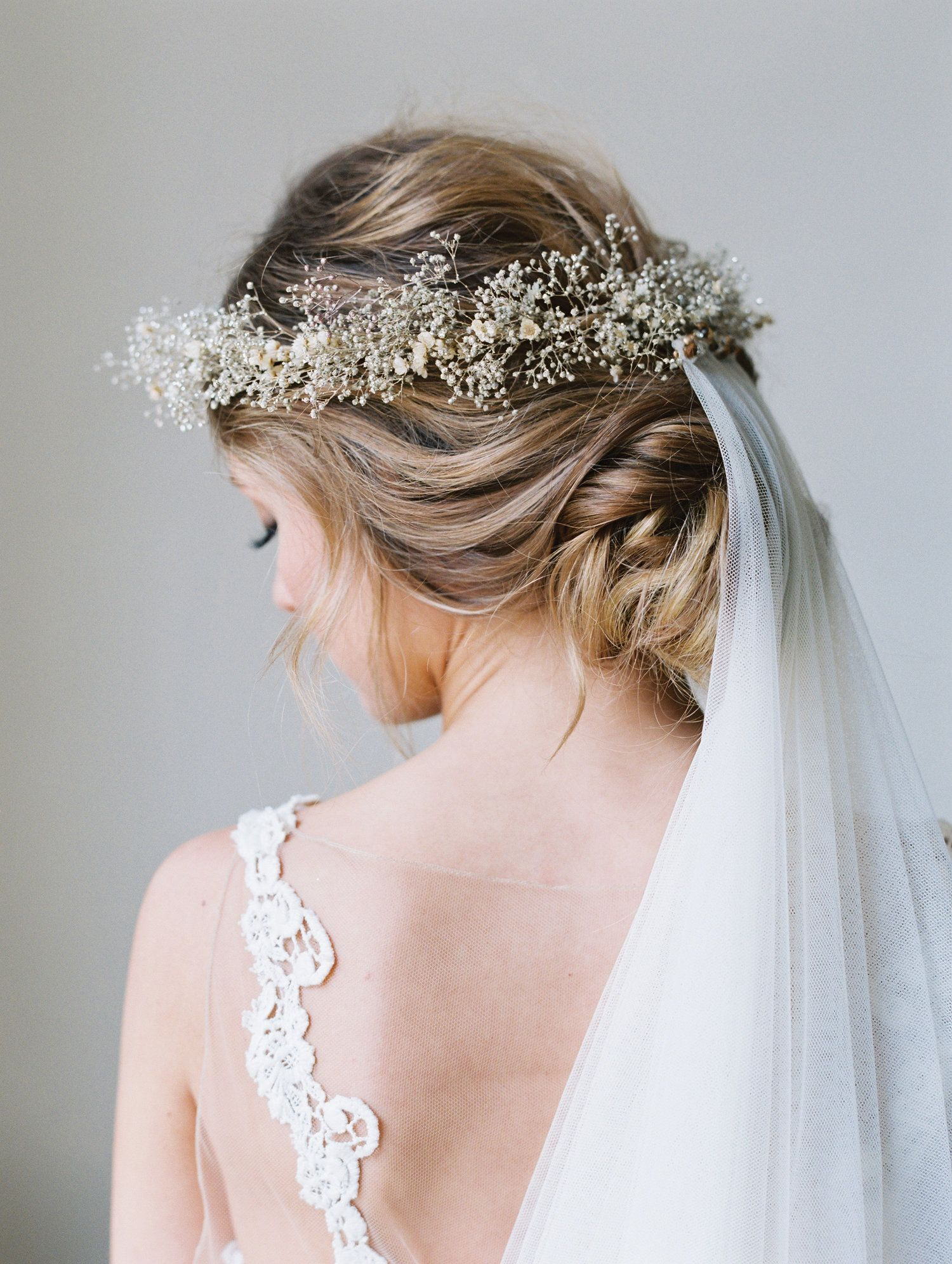 Champagne flower crown bridal hairstyle updo babys breath crown