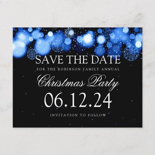 Christmas Party Save The Date Winter Wonder Blue Announcement Postcard    Christmas Party Save The Date Winter Wonder Blue Announcement Postcard