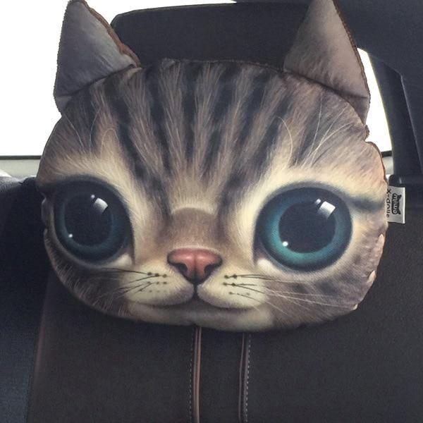 Cat and Dog Head Car Seat Pillows - Cute Animal Head Pillows - Cat 3