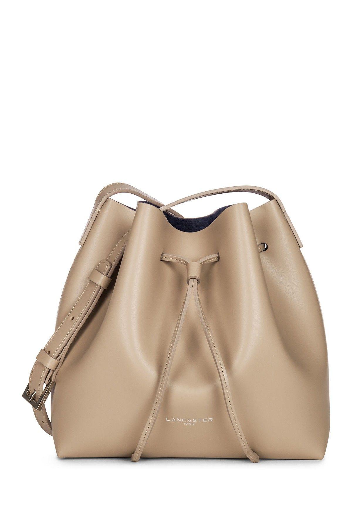 3f3a1eb86973 Lancaster Paris Matte Smooth Leather Bucket Bag