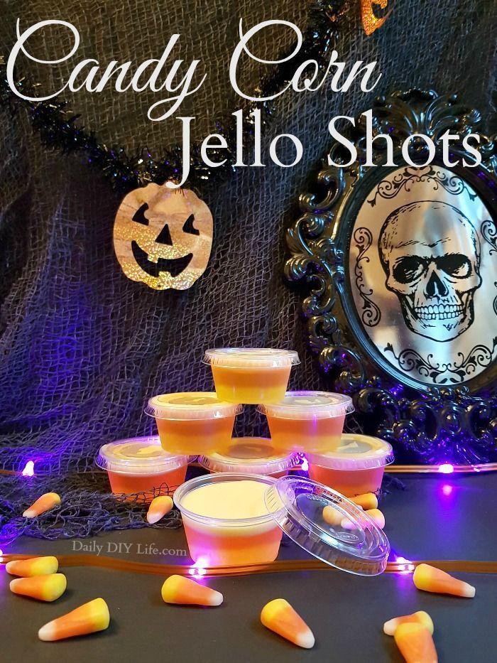 Candy Corn Jello Shots - Trick or Treat For The Grown Ups! #halloweenjelloshots