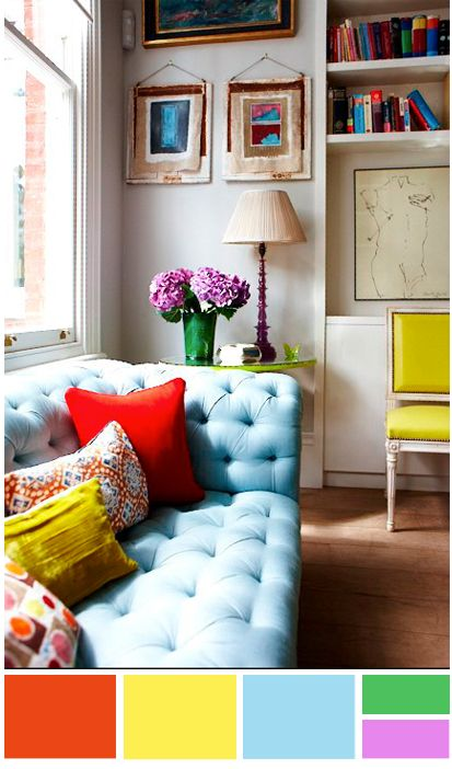 Small Blue Living Room Designs: Updated Primary Color Scheme. Red, Yellow, & Baby Blue