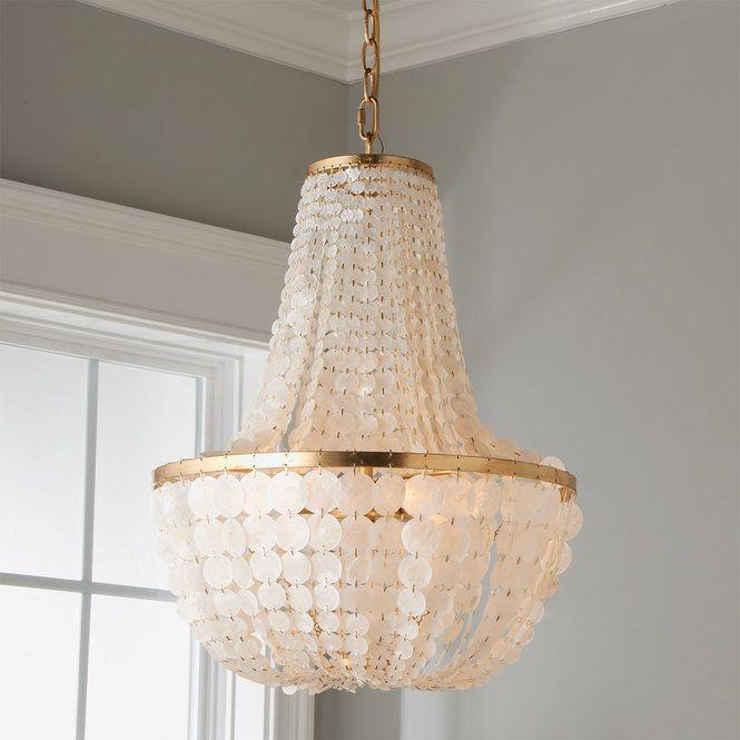 Elegant Capiz Shell Basket Chandelier Shades of Light